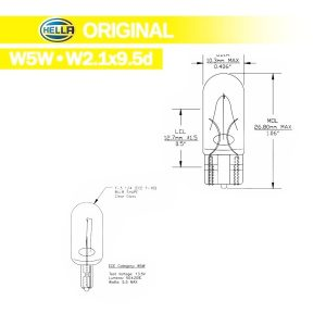 Lâmpada Hella T10 original Standard 12V 5W W2 Pingo